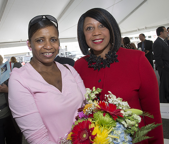 Breast cancer survivor Felicia Macklin and Assemblywoman Sheila Oliver