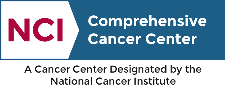 NCI comprehensive cancer center logo and link to website