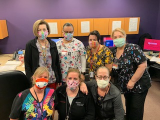 Group of Rutgers Cancer Institute nurses wearing masks