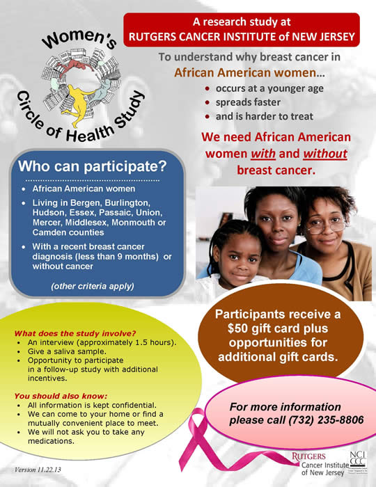 Women's Circle of Health Study flyer