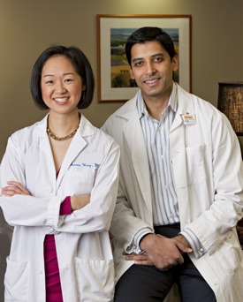 Members of the breast care team: Serena Wong, MD, medical oncologist and Atif Khan, MD, radiation oncologist