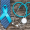 prostate cancer blue ribbon on blue tie